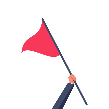 Triangular red flag holding in hand man
