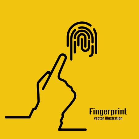 Fingerprint icon. Black outline sign. Ilustração