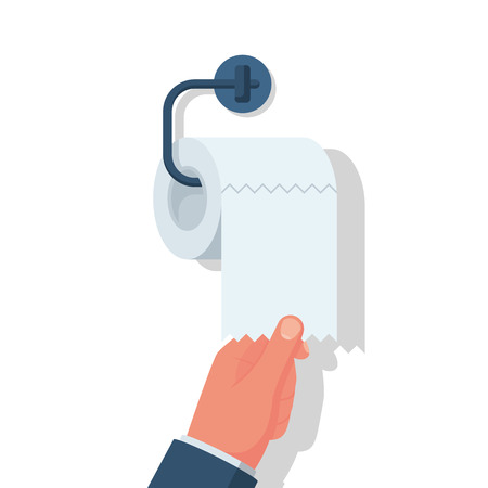 Human hand using toilet paper close-up. Vector illustration flat design. Isolated on white background. Toilet paper roll holder in bathroom. Illustration