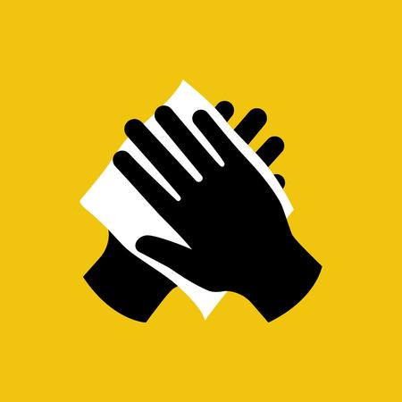 Essuyez votre main avec une icône noire en tissu humide. Essuyez le mouchoir en papier. Se laver les mains. Hygiène personnelle. Serviette blanche. Design plat d'illustration vectorielle isolé sur fond. Soins de la peau de désinfection.