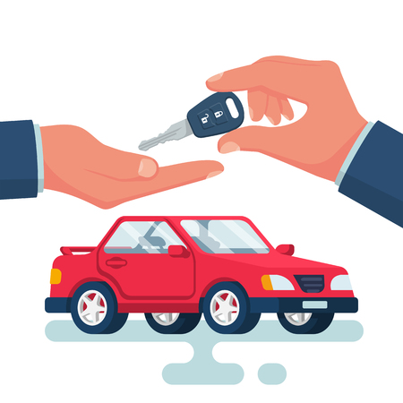 Key car in hand cartoon style. Give, take car key. Buy rent vehicle. Vector illustration flat design. Isolated on background red auto. Template purchase buy rental sale vehicle.