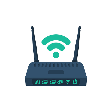 Modem flat icon. Router wireless with the antenna cartoon style. Illustration