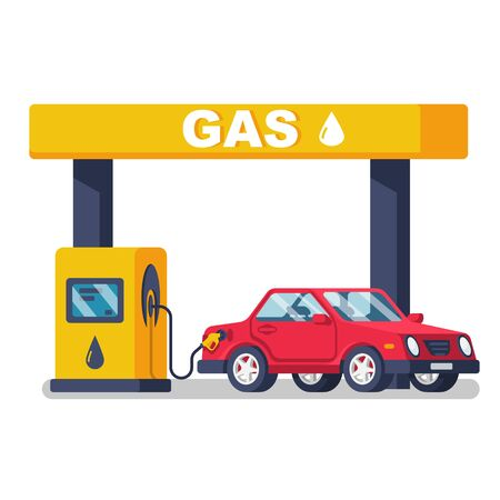Gas station. Gas pump. Petroleum refill station. Illustration