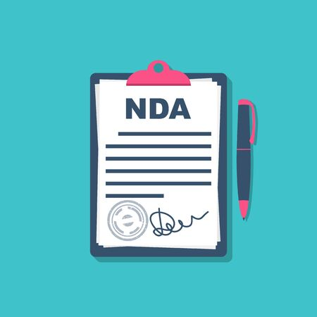 Non disclosure Agreement document with signature and stamp. NDA concept. Signature a privacy document. Vector illustration flat design.  Çizim