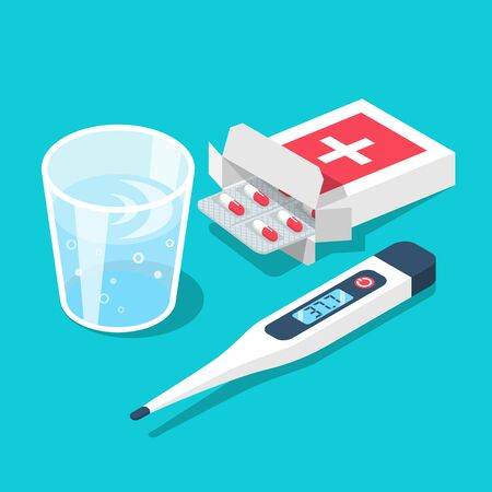 Treatment inflammation. Blister of pills glass of water, thermometer with high temperature