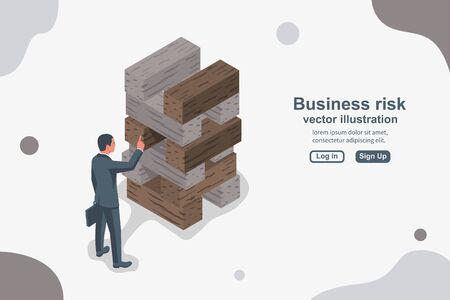 Concetto di rischio aziendale. L'uomo d'affari estrae il blocco di legno