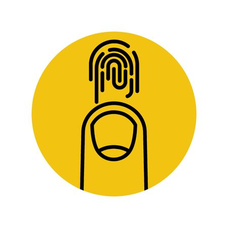 Fingerprint sign. Black outline icon