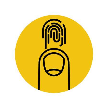 Fingerprint sign. Black outline icon Banco de Imagens - 128367853