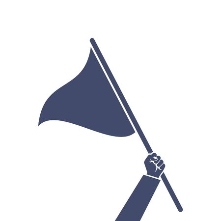 Triangular flag holding in hand man