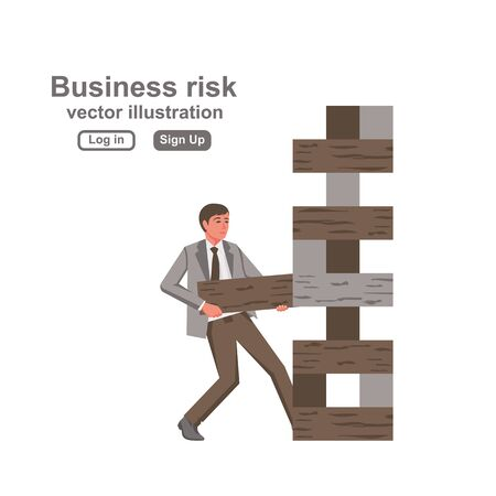 Business risk concept. Businessman pulls out the wooden block, risking to break stack