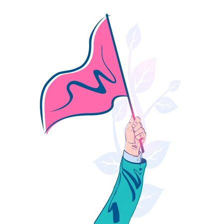 Triangular red flag holding in hand man. Vector illustration sketch style 向量圖像