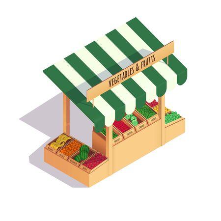Vegetables shop on the market. Vector illustration isometric design.