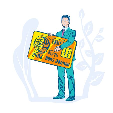 Businessman hold credit card in hand. Sign paying