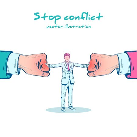 Stop conflict sketch design. Businessman referee finds compromise. Ilustração Vetorial