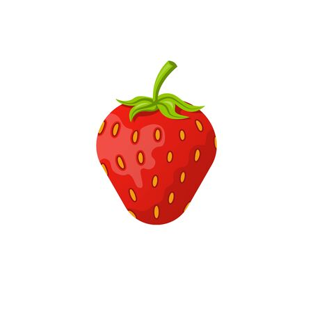 Icon red strawberry isolated on white background. Cartoon Ilustrace