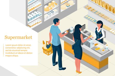 Isometric design of a supermarket. Illustration
