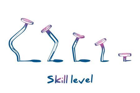 Skill level concept. Training skill. From beginner to skilled expert
