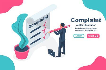 Complaint concept isometric concept. Man wrote a complaint