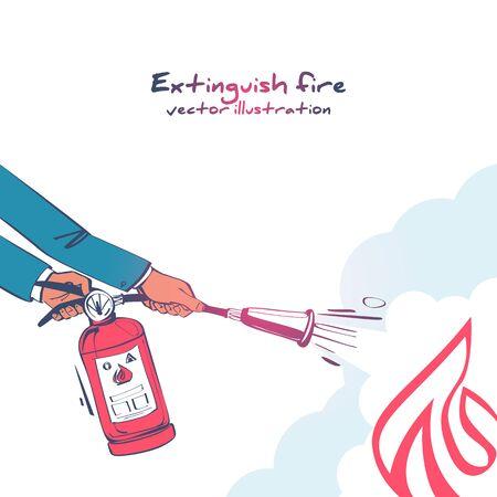 Extinguish fire. Fireman hold in hand fire extinguisher Stock Illustratie