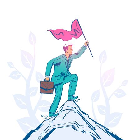 Businessman hold red flag on top of mountain. Goal achievement.