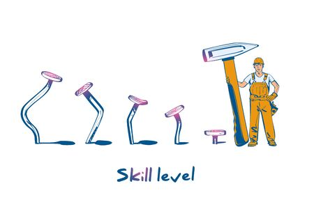 Skill level concept. Man holding a hammer in hand hammer nails, training