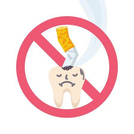 Stop sign smoking. Harm of smoking for dental health vector