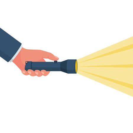 Hand holding flashlight. Search concept. Yellow bright ray of light. Vector illustration flat design. Isolated on white background. Beam light. Press a finger on the button.