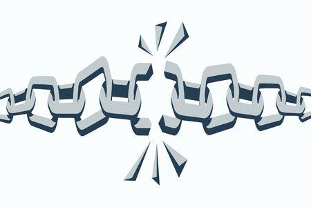 Broken chain links. Freedom concept. Broken metal chain with iron pieces 일러스트