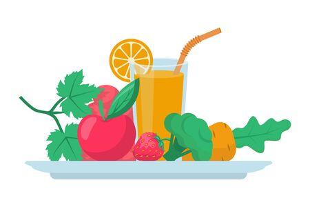 Healthy food concept. Vector illustration flat design.  イラスト・ベクター素材