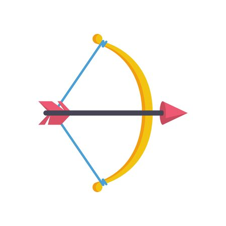 Bow with arrow icon flat style. Vector illustration. Illusztráció