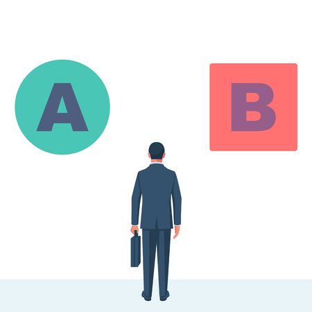 Man is faced with a choice of A or B. Choice circle or square red or green Illustration