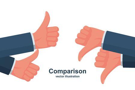 Comparison concept. Like and Dislike. Illustration