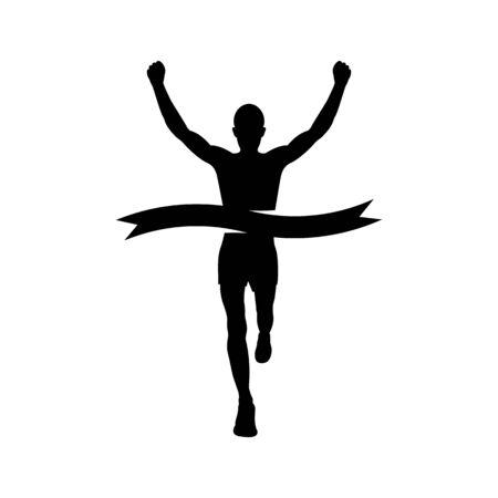 Silueta de corredor. Sprint atleta al final con una cinta ganadora. Ilustración de vector