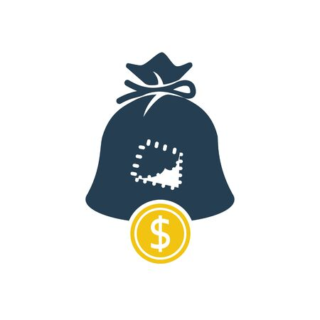 Hole in bag glyph icon. Silhouette coin falls out of bag. Ilustrace