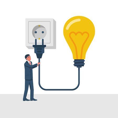 Connectez l'idée. Homme d'affaires tenant une ampoule, une prise électrique du cordon connectée à une prise de courant. Branchez à la prise murale. Solution d'entreprise. Design plat d'illustration vectorielle. Isolé sur fond.