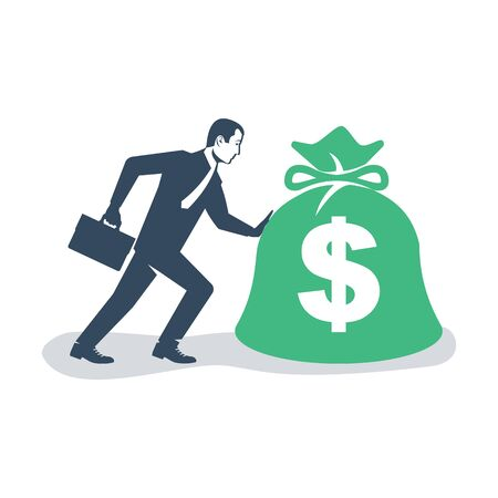 Businessman in a suit pushes a big bag of money. Handing awards concept. Give reward for the job. Vector illustration flat design. Isolated on white background. Bag of money in hand like a bonus.