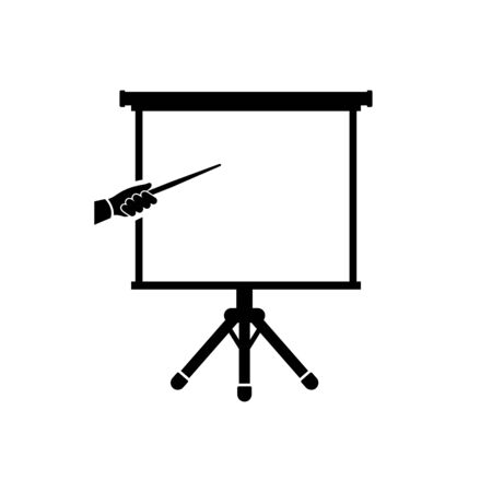 Trainee icon. Glyph black sign. Vector illustration flat design. Isolated on white background. Training concept. Silhouette hand with a pointer and a board. Ilustracja