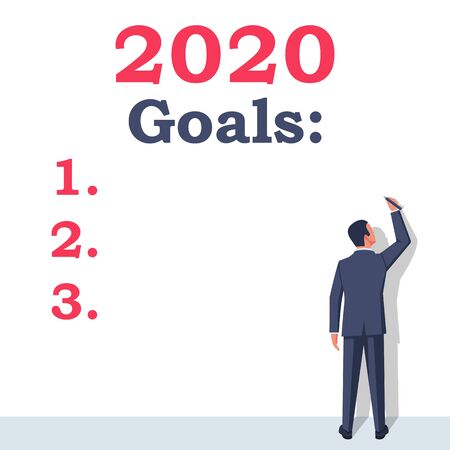 Goals 2020. To do list for next year. Vector illustration flat design. Isolated on white background. Businessman writes a motivational plan. Challenge for future. Illusztráció