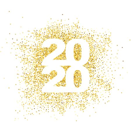 Happy New Year 2020. Gold dust in numbers. Bright sparkles. Simple greetings template. 2020   text design. Brochure card, banner with wishes. Vector illustration. Isolated on white background.