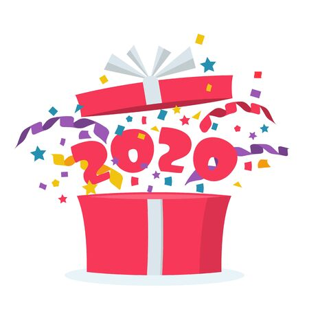 Happy New Year 2020. Open gift with serpentine confetti and flying numbers 2020. Vector illustration cartoon design. Template for congratulations, celebration events for web and print. Prize icon. Vector Illustration
