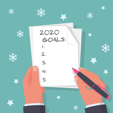 2020 new year goal. Man holds a sheet in hand with a plan for next year. Business motivation with text plan action in notepad. Vector flat design. Isolated on background white stars and snowflakes. Illusztráció