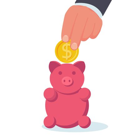 Big hand putting coin into piggy bank. Vector illustration, flat design. Making saving. Cartoon style. Isolated on white background. Save money concept. Management business.