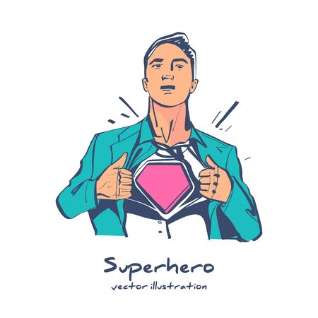 Superhero sketch icon. Human tearing clothes on his chest. Ilustração