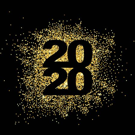 Happy New Year 2020. Gold dust in numbers. Bright sparkles.