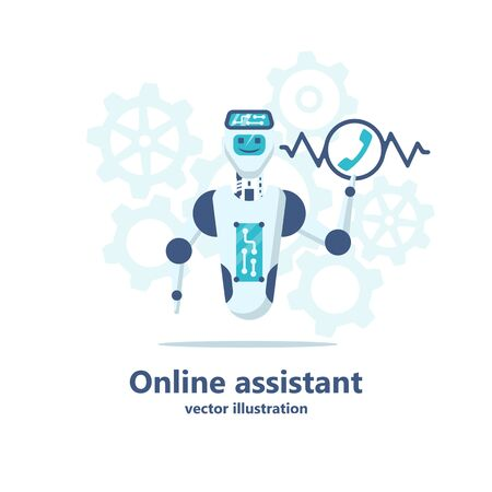 Chatbot online assistant. Robot call center receives call. Automatic web sait assistant. Bot talk on phone or chat. Vector illustration flat design. Isolated on white background. Technical assistance.