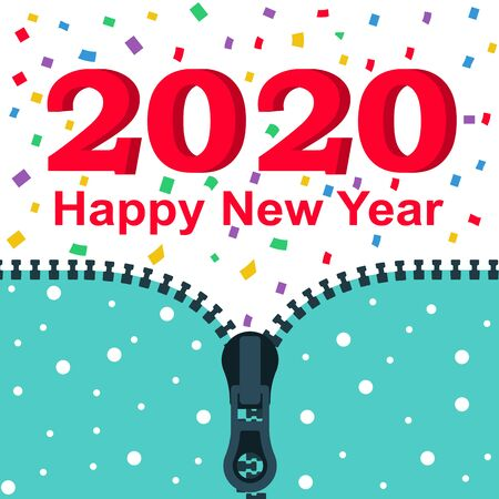 2020 Happy New year. Opens up zipper with 2020. Colored confetti. Vector flat design. Isolated on white background. Merry Christmas. Stock Vector - 134536636