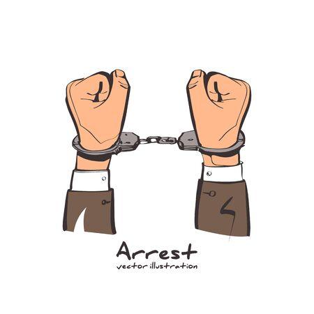 Hands in handcuffs sketch style.