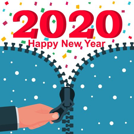 2020 Happy New year. Man hand opens up zipper with 2019. Colored confetti. Vector flat design. Isolated on white background. Merry Christmas. Stock Vector - 134538654