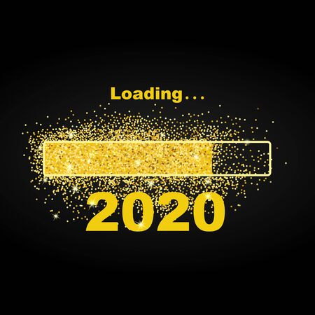 Loading new year 2020. Greeting card bright sparkles. Gold dust loading bar Happy New Year 2020. Simple greetings template text design. Vector illustration. Isolated on black background. Brochure card