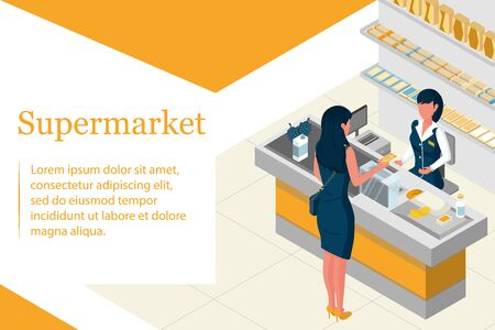 Isometric concept. Woman shopping in a supermarket at a retail grocery store. The buyer pays for the purchase. The cashier serves consumers. Landing page Vector illustration